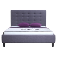 Kimberly Platform Bed - Button Tufted, Gray