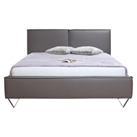 Ava Faux Leather King Bed - Gray