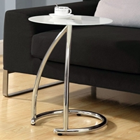 Pastiche End Table - Chrome Base, Frosted Glass Top
