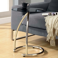 Pastiche End Table - Chrome Base, Black Glass Top