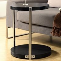 Ravenswood End Table - Cappuccino Finish, Chrome Accents