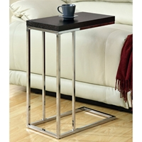 Grisham Contemporary Side Table - Chrome Stand, Cappuccino Top