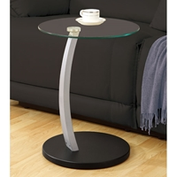 Berenstain Side Table - Glass Top, Silver & Black Base