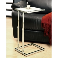 Olea Adjustable Height End Table - Glossy White, Chrome