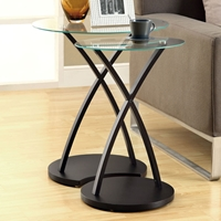 Liron 2 Piece Nesting Tables Set - Cappuccino, Glass Top