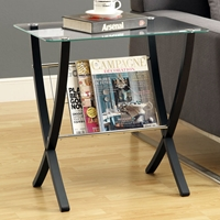 Osha End Table with Magazine Holder - Cappuccino, Glass