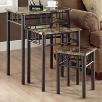 Illusion Nesting Tables Set - Cappuccino Marble Look, Bronze