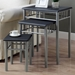 Infinity Nesting Tables Set - Black Top, Silver Metal - MNRH-I-3091
