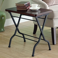 Desire Folding Side Table - Cherry Finished Top, Charcoal Black