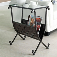 Admiration Side Table - Weave Patterned Magazine Holder