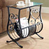 Passion Side Table with Magazine Rack - Satin Black, Glass Top