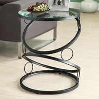 Romance Contemporary End Table - Glass Top, Ring Accents