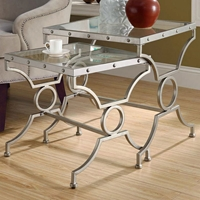 Vheissu 2 Piece Nesting Tables Set - Satin Silver, Clear Glass