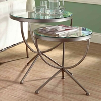 Trance 2 Piece Nesting Tables Set - Satin Silver, Round Clear Glass