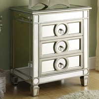 Alcott Mirror Nightstand / End Table - Silver Finish, 3 Drawers