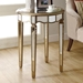 Keller Mirror End Table - Gold Finish, Scalloped Apron - MNRH-I-3703