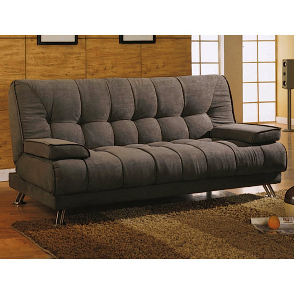 Amani Convertible Sofa - Removable Armrests, Coffee Microfiber