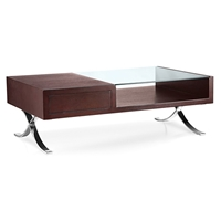 Cota Rectangular Coffee Table - Glass, Wenge Wood, Drawer