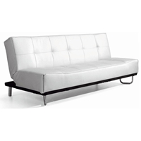 Beck Modern Convertible Sofa - Tufted, White