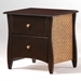 Clove Two Drawer Nightstand with Rattan Panels and Knobs - NDF-RATTAN-NS