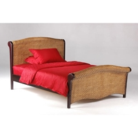 Rosebud Rattan Bed with Matching Footboard