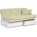 Arden Complete Armless Futon Set - White Frame, Clean Timeless Design, Comfortable Mattress Options - NF-ARDN-SW-SET#
