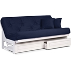 Arden White Futon Frame - Armless Design, Solid Hardwood Construction