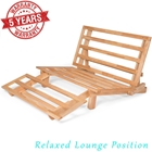 Tri-Fold Futon Lounger - Solid Wood Frame, Natural Finish