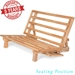 Tri-Fold Futon Lounger - Solid Wood Frame, Natural Finish - NF-LNGR