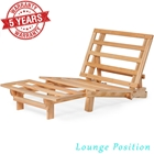 Tri-Fold Futon Lounger Set - Space Saving Design in Natural Wood Finish (Frame and Mattress)