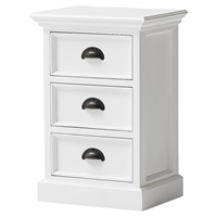 Halifax 3-Drawer Bedside Table - Pure White