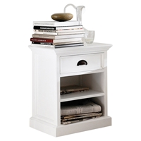 Halifax Bedside Table - 2 Shelves, Pure White