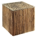 Square End Table - Bamboo Stick Bunch Base, Glass Top - PAD-BAM05