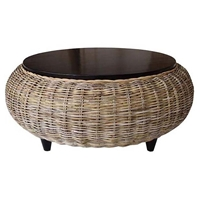 Paradise Round Coffee Table - Wood Top, Gray Kubu Wicker