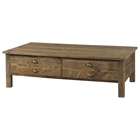 Salvaged Wood 2-Drawer Coffee Table - Cup Handles