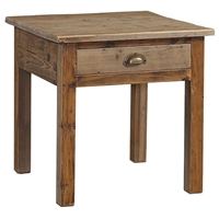 Salvaged Wood Square End Table / Nightstand - 1 Drawer