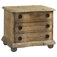 Salvaged Wood 3-Drawer Nightstand - Molding, Bun Feet