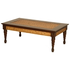 Trinidad Coffee Table - Rattan Weave, Mahogany Legs
