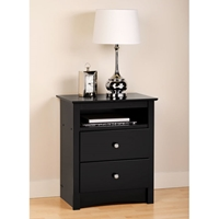 Sonoma Tall Nightstand with Open Shelf - Black