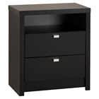 Series 9 Designer 2-Drawer Tall Nightstand - Black