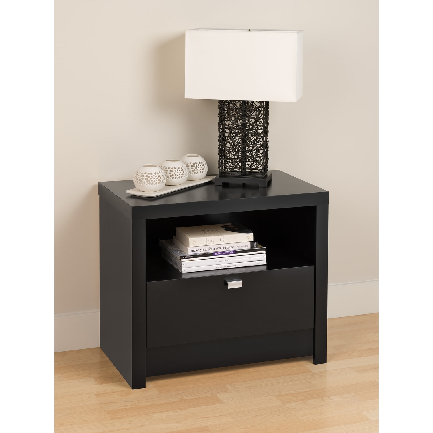 Series 9 Designer 1-Drawer Nightstand - Black