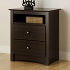 Fremont Espresso Tall Nightstand with Open Shelf