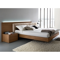 Edge Walnut Floating Bed