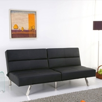 Fitz Black Leather Look Splitback Convertible Sofa Bed