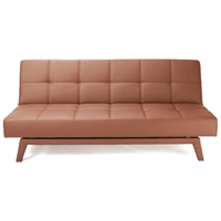 Napolitan Chocolate Leather Look Convertible Sofa Bed