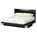 Step One King Platform Bed - 2 Drawers, Panel Headboard, Pure Black - SS-10033