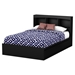 Step One Full Mates Bed - 3 Drawers, Bookcase Headboard, Pure Black - SS-10034