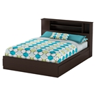 Vito Queen Mates Bed - 2 Drawers, Bookcase Headboard, Chocolate