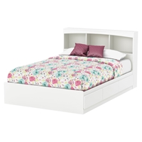 Step One Full Mates Bed - 3 Drawers, Bookcase Headboard, Pure White