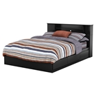 Vito Queen Mates Bed - 2 Drawers, Bookcase Headboard, Pure Black